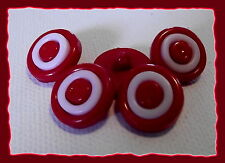 6 BOUTONS Coeur Rouge à facettes 14 mm pied 1,4 cm  red button sewing mercerie