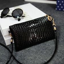 Fashion Ladies Croco Purse wallet Crossbody bag Party Shoulder bag Handbag Black