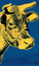 ANDY WARHOL - Cow Yellow on Blue Background (sm) Offset Lithograph Print Poster