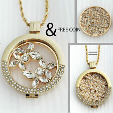 GOLD Coin/Moneda Cz Pendant/Carrier/Keeper & Open Gold Moneda/Coin Necklace