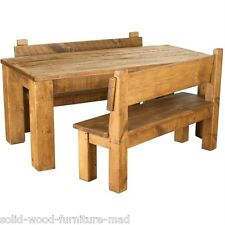 any size made SOLID WOODEN DINING TABLE WITH BENCHES CHUNKY RUSTIC PLANK PINE