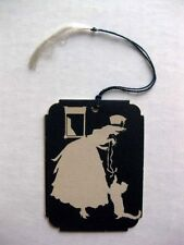 Vintage Bridge Tally Silhouette of Woman Playing with Cat