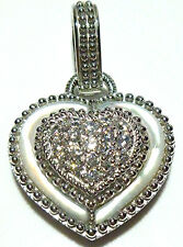 "JUDITH RIPKA 1 3/8"" STERLING SILVER CZ MOP MOTHER OF PEARL PENDANT ENHANCER"