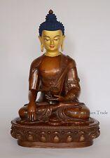 """14"""" Shakyamuni Buddha Oxidized Copper Alloy Gold Face Painted Statue Patan Nepal"""