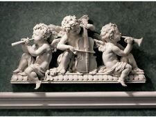 BAROQUE CLASSICAL CHERUB BABY ANGELS PLAYING MUSIC WALL SCULPTURE HOME DECOR NEW
