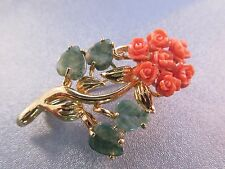 Coral Flower /Jade Leaf Pin Brooch Gold Plated