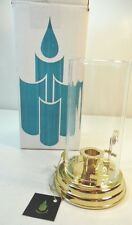 PartyLite Chamber Lamp Brass Base Hurricane Optic Top Candle Holder P7750 New