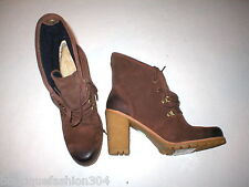 New Womens UGG Australia Boots 12 Dark Brown Hi Ankle Booties Calynda Fold Shoes