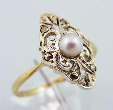 Jugendstil Ring Gold & Silber Perle Markasiten RW 56 um 1910 (A570)