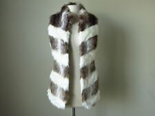 NWT White house black market chevron faux fur vest jacket brown ivory XLarge