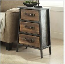 Rustic Industrial Vintage Cabin Nightstand Bedside Table End Accent Distressed