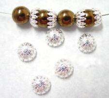 100 Fancy Lace Silver Filigree Beadcaps Bead Cap 8MM