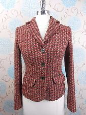 Ladies Per Una Short Red Grey Fitted Tweed Wool Country Lady Jacket Small UK 8