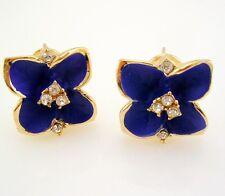 """Joan Rivers Enamel & Crystal Lever Back Flower Earrings  1/2""""  BLUE"""