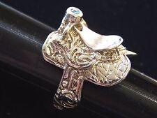 Vintage Mens Silver 1980s Western Horse Saddle Motorcycle Biker Ring Size 13