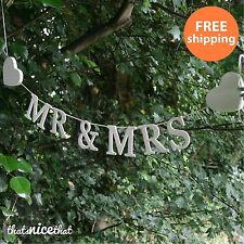 Large Mr & Mrs Garland Wedding Gift White Letters Decoration Hearts Wooden Fun