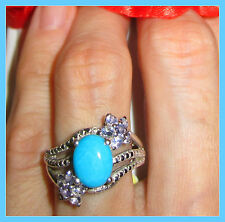 Sleeping Beauty Turquoise Tanzanite 2.55 cts  Ring Sterling Silver 925 sz 8