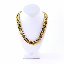Mens Thick Large 14K Gold Plated Miami Cuban Stainless Steel Chain 18mm JayZ
