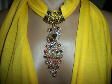 SCARF PENDANT MULTICOLOR PEACOCK CRYSTAL RHINESTONE NECKLACE GOLD YELLOW JEWELRY