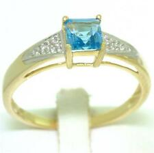 Blue Topaz & Diamond 9ct 9K Solid Gold Natural Ring Free Shipping 30 Day Refunds