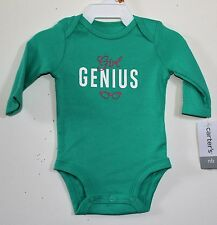 z H137 NWT Carter's baby Girl  6 months Long Sleeve Bodysuit  Green