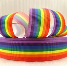 "BTY 7/8"" Rainbow Pride Grosgrain Ribbon Hair Bows Scrapbooking Lisa"