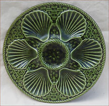 French Oyster Plate Faience Green Basketweave Longchamp 1970