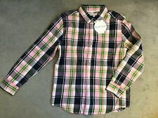 M&S PINK MIX CHECKED SHIRT WITH COLLAR & POPPERS DOWN FRONT - AGE 11y - BNWT