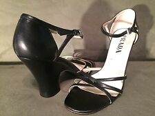 Womens - PRADA - Black Leather Strappy Heels Sandals Size 38.5