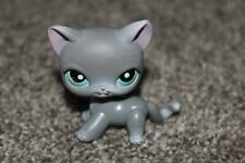 Littlest Pet Shop Gray Kitty #126 Teal Eyes Short Hair Cat LPS Toy Flawed Hasbro