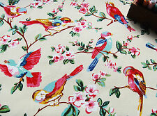 SOFT Upholstery Heavy Cotton Fabric BEIGE FINCH BIRD BLOSSOM by HALF METRE #65
