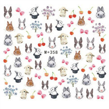 50 Cute Rabbit & Cherry Decals Water Nail Art Stickers for Nail Polish