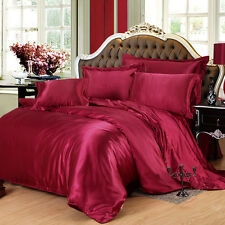 100% Pure Satin Silk Twin Queen King Size Duvet Cover Bedroom Bed Bedding Set