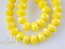 100pcs 3x4mm Faceted Rondelle Crystal Glass Loose Spacer Beads Porcelain Yellow