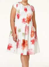Calvin Klein NEW Pink Ivory Women's Size 22W Plus Floral Sheath Dress $139 #079