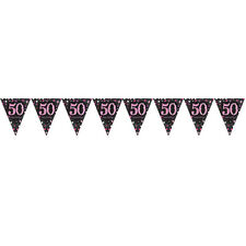 50th Birthday Pennant Flag Banner Black & Pink Party Decorations Age 50 Bunting