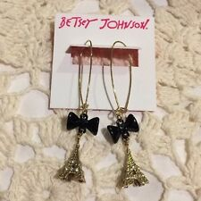 Betsey Johnson Crystal Gold Black Bow Eiffel Tower Hook Dangle Earrings $45