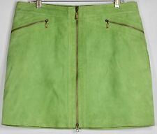 MICHAEL KORS Soft 100% Leather Suede Green Zip Front Skirt size 12
