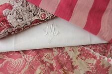 Antique French fabric vintage material PROJECT scraps toile de jouy 18th