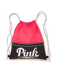 Victoria's Secret Pink NEON RED Drawstring Backpack Bag Tote Duffle Gym Logo