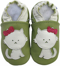 carozoo cat green 6-12m soft sole leather baby shoes