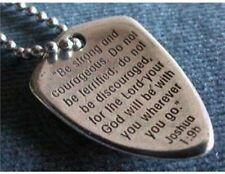 """Shield Of Faith Cross Verse Joshua 1:9 Pewter Necklace 24"""" Chain Uncarded 817875"""