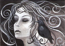ACEO woman face crow bird raven black white original painting by MOTYL