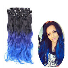 Ombre Natural Black To Blue Queentas 8pcs Clip In Wavy Hair Extensions Cosplay