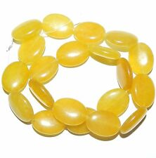 NG1492f Yellow Agate 20x15mm Flat Puff Oval Gemstone Beads 15""