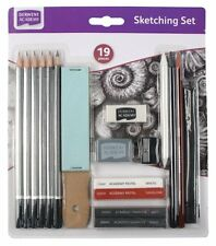 Derwent Academy 19 Piece Sketching Set - Pencils, Pastels, Graphite, Accessories