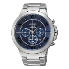 Seiko Recraft Solar Mens Blue Date Dial Chronograph Stainless Steel Watch SSC281