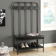 Black Metal Entryway Hall Tree Coat Stand Home Furniture Decor Storage Bench