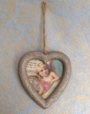 Set of 3 Heart Photo Picture Frames Gold Sparkle Hanging Rustic String