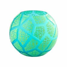 """New 8"""" Hand Blown Glass Art Bubble Vase Bowl Green Patterned Decorative"""